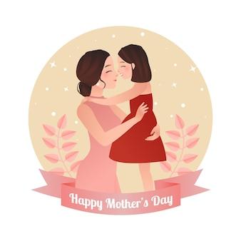 La donna graziosa abbraccia la sua figlia celebrazione felice di giorno di madri