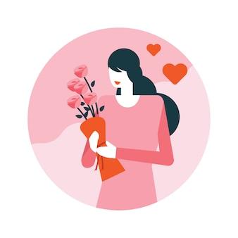 Donna graziosa con il mazzo dei bei fiori. Vettore Premium