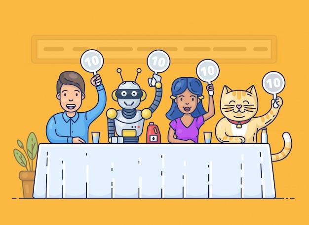Ragazza graziosa, robot divertente, giovane felice e scorecard svegli della holding del gatto. giudici della giuria seduti al tavolo.