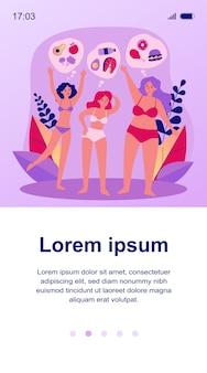 Piuttosto giovani donne in bikini con dieta diversa. cibo, verdura, illustrazione del pasto. corpo positivo e concetto di nutrizione per banner, sito web o pagina web di destinazione