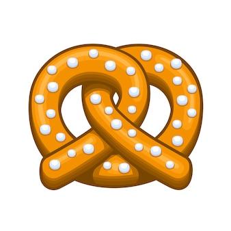 Icona di pretzel su sfondo bianco.