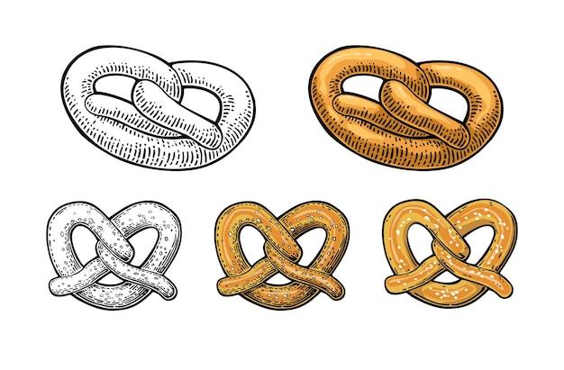 Pretzel. illustrazione piatta vettoriale vintage per web, poster, invito alla festa della birra. elemento di disegno disegnato a mano isolato su priorità bassa bianca.