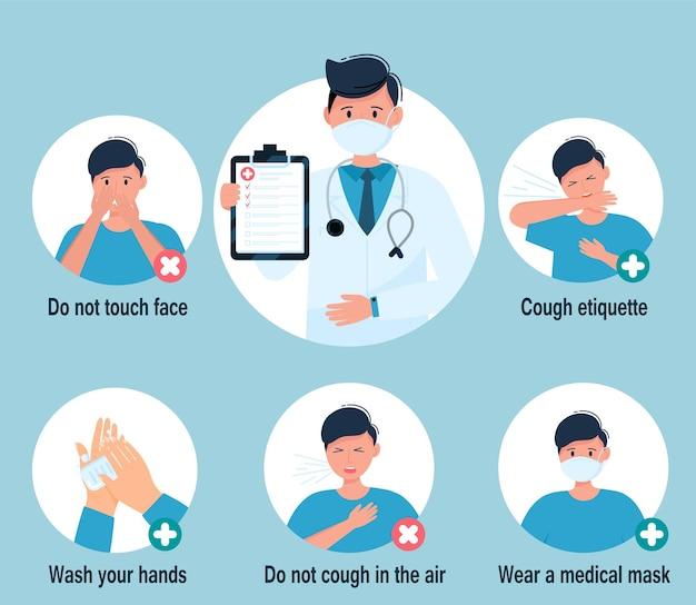 Prevenzione 2019-ncov covid-19 infografica coronavirus virus. set di illustrazione vettoriale isolato