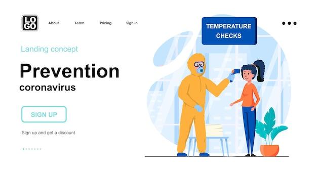 Modello di pagina di destinazione del coronavirus di prevenzione
