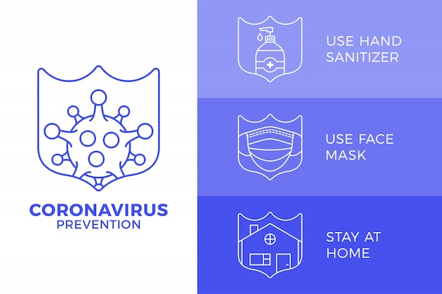 Prevenzione di covid-19 all in one icon poster illustration. volantino di protezione coronavirus con set di icone di contorno. resta a casa, usa la maschera, usa il disinfettante per le mani