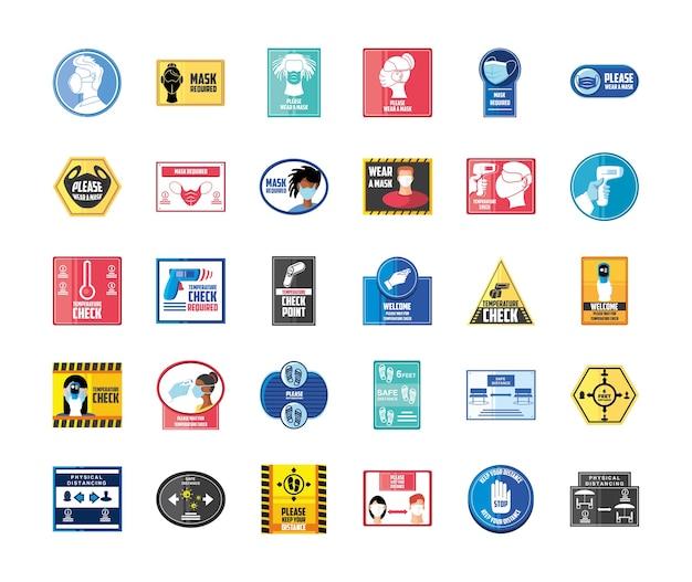 Prevenzione del covid 19, set di icone con cartello di avvertimento per indossare una maschera, mantenere la distanza e il punto di controllo della temperatura
