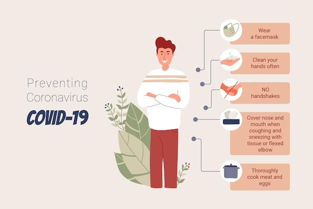 Infografica di prevenzione di covid-19 o 2019-ncov. allarme coronavirus.