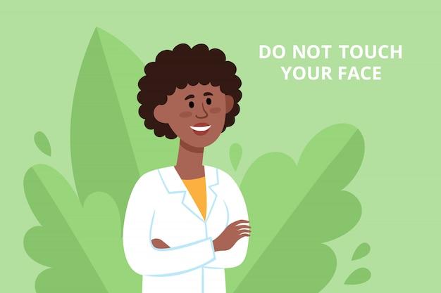 Poster di prevenzione con medico cinese donna che combatte il coronavirus con consigli. illustrazione del lavoratore medico sorridente su sfondo di piante, volantino di protezione - non toccare il tuo viso