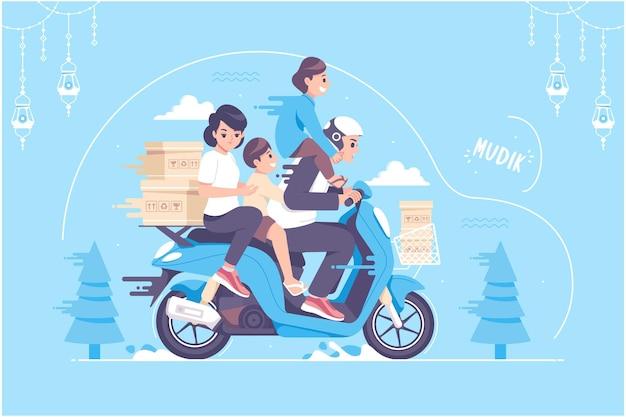 Il concetto mudik disegnato a mano significa andare a casa illustrazione