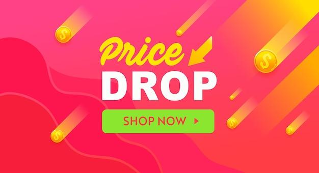 Bandiera rossa di calo dei prezzi, design di vendita. banner del modello di offerta di sconto. calo dei prezzi .