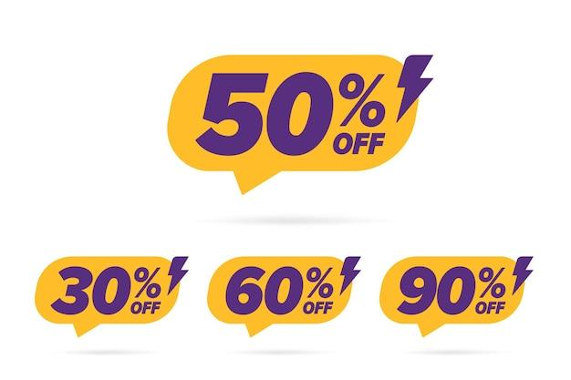 Prezzo scontato banner di vendita con diverso valore percentuale.