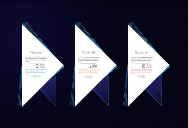 Tabella dei prezzi per l'hosting, per le tariffe e i listini prezzi. elementi web.