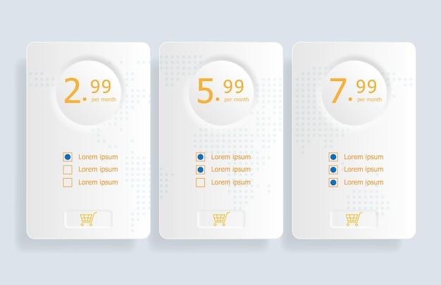 Illustrazione del fondo del modello della tabella dei prezzi