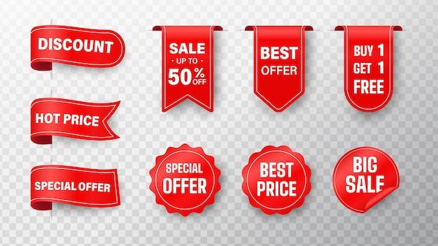 Collezione di cartellini del prezzo. etichetta di vendita del nastro offerte speciali