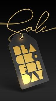 Cartellino del prezzo e stampa tipografica in lamina d'oro per la vendita del black friday.
