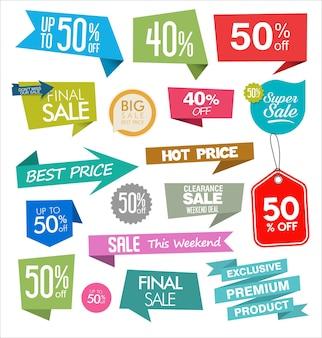Collezione moderna colorata da cartellino del prezzo