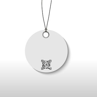Cartellino del prezzo con codice di scansione qr per pacchetto prodotto.