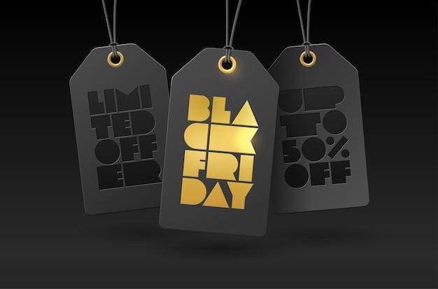 Cartellini dei prezzi e stampa tipografica in foglio black friday.