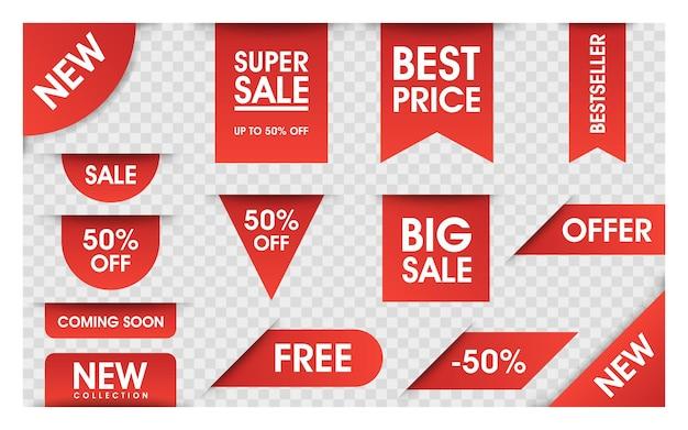 Insieme di vettore di cartellini dei prezzi. bandiere di vendita del nastro isolate. nuove offerte di raccolta. etichette o badge. banner per pubblicità.