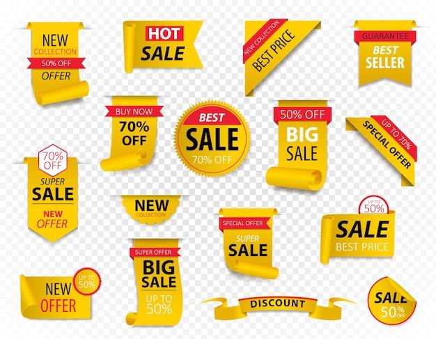 Cartellini dei prezzi, striscioni nastro giallo. promozione di vendita, adesivi del sito web, nuova collezione di badge offerta isolata.