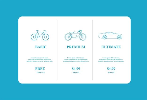 Modello di infografica banner piano tariffario