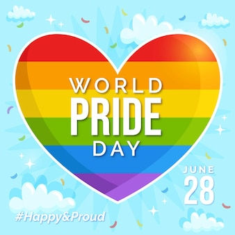 Bandiera a forma di cuore del giorno dell'orgoglio con hashtag