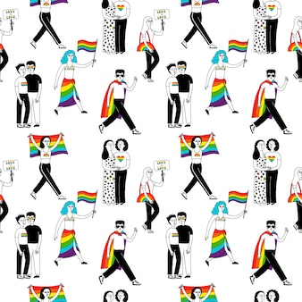 Mese dell'orgoglio. modello senza cuciture con un gruppo di persone che partecipano a una parata di orgoglio.