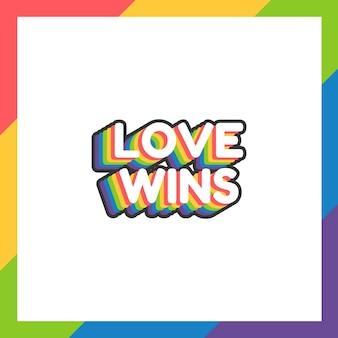 L'adesivo o l'etichetta del mese dell'orgoglio con l'amore vince il testo in design piatto