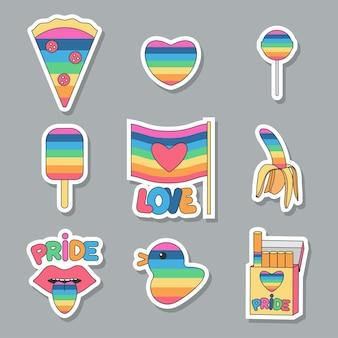 Adesivo di orgoglio con bandiera arcobaleno insieme del fumetto di vettore isolato su priorità bassa.