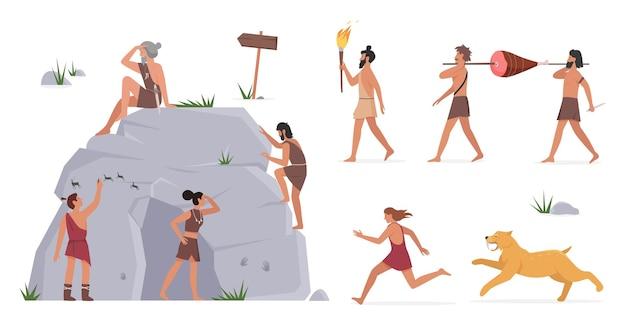 Persone della tribù primordiale in piedi con la grotta