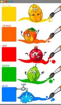 Colori primari con frutti di cartone animato