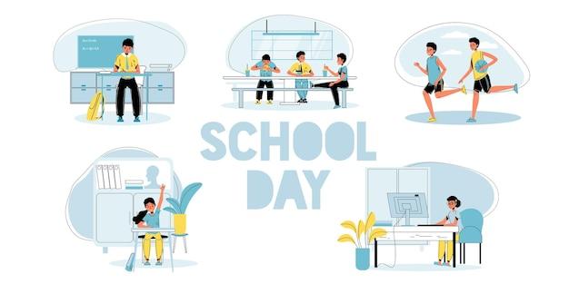 Insieme di illustrazioni del programma della giornata dello studente della scuola primaria.
