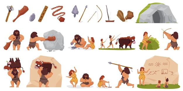 Le persone primitive cacciano insieme la caccia selvaggia dell'uomo delle caverne con la donna che cucina la donna della lancia dell'arco del bastone del bastone