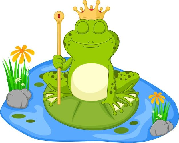 Fumetto della rana del principe che si siede su una foglia