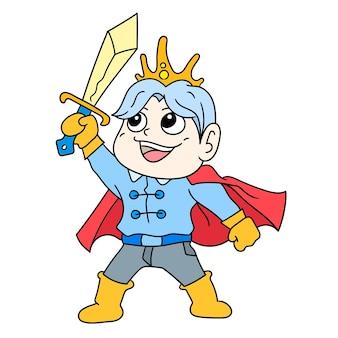 Il principe con un bel viso alza la sua spada magica pronta a combattere, scarabocchia l'immagine dell'icona. personaggio dei cartoni animati carino doodle disegnare