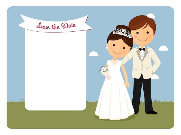 Coppia di stile principesco per invito a nozze