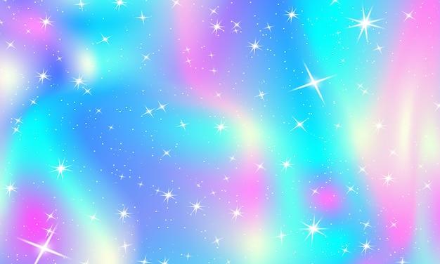 Sfondo principessa. stelle e luci magiche. colori dell'arcobaleno
