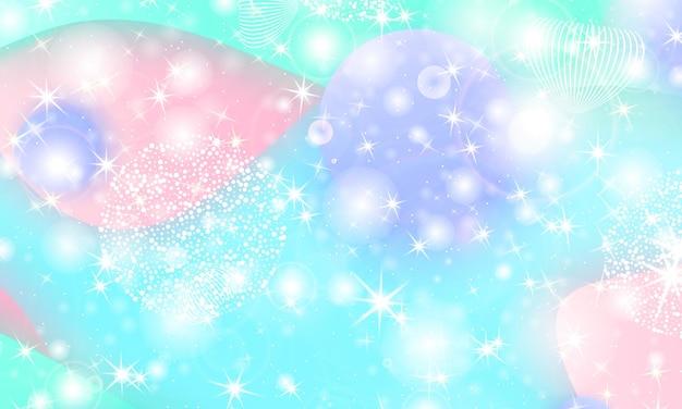 Sfondo principessa. stelle magiche. modello di unicorno. galassia di fantasia.