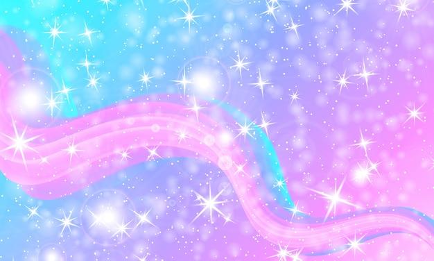Sfondo principessa. stelle magiche. modello unicorno. galassia di fantasia.