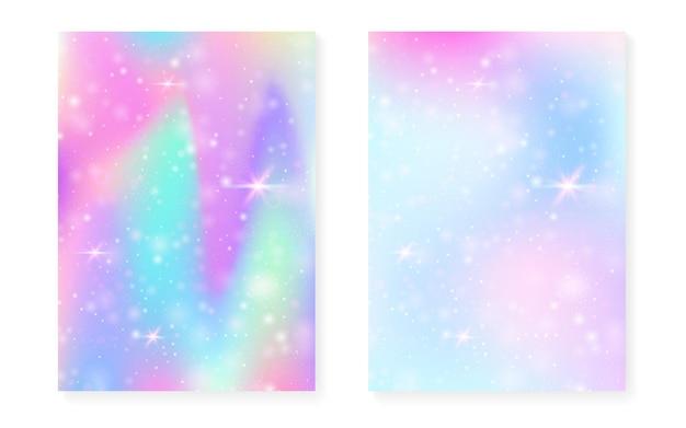 Sfondo principessa con sfumatura arcobaleno kawaii. ologramma di unicorno magico. set di fate olografiche. copertina fantasia brillante. sfondo principessa con scintillii e stelle per invito a una festa ragazza carina.