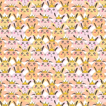 Princess bunny pattern background for kids.