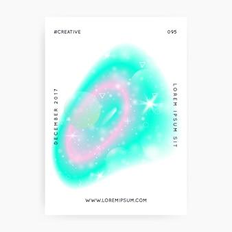 Copertina da principessa. ologramma arcobaleno kawaii. gradiente di unicorno olografico. copertina di fantasia. bandiera dell'universo al neon. copertina da principessa con scintillii magici, stelle e sfocature per invito a una festa per ragazze.