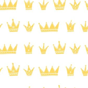 Modello senza cuciture di corone principessa. illustrazione disegnata a mano del bambino nello stile scandinavo del fumetto semplice. ideale per la stampa su carta e tessuto