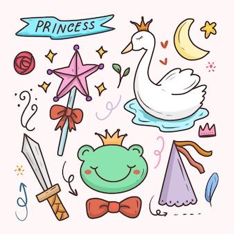 Principessa carino doodle cartone animato disegno adesivo impostato con cigno
