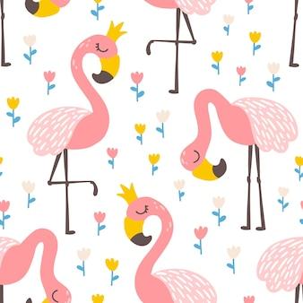 Modello senza cuciture principessa flamingo con fiori di tulipano illustrazione carina vettoriale
