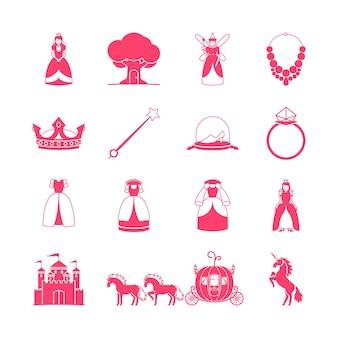 Insieme dell'icona della principessa. oggetti da favola della principessa. illustrazione vettoriale