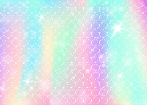 Priorità bassa della principessa sirena con motivo a scaglie arcobaleno kawaii. banner a coda di pesce con scintillii e stelle magici. invito fantasia mare per party girlie. sfondo luminoso sirena principessa.