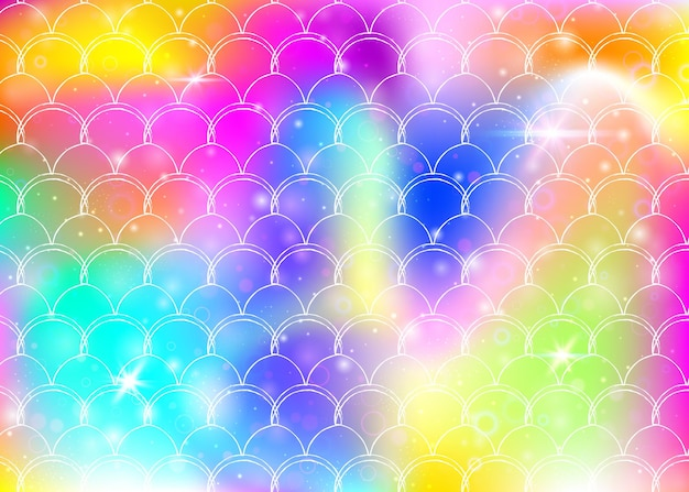 Sfondo principessa sirena con motivo a squame arcobaleno