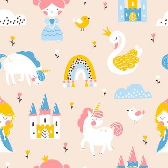 Modello senza cuciture principessa con castello di cigno unicorno e illustrazione arcobaleno di una ragazza