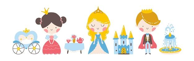 Set principesse e principe con un tavolo da tè carrozza castello simpatici personaggi di ragazze e ragazzi and
